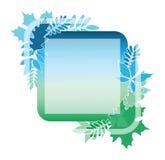 Αφηρημένο καθιερώνον τη μόδα πρότυπο με τα υπόβαθρα κλίσης και τα φύλλα φθινοπώρου Τετραγωνική αφίσα με τις διαφανείς μορφές Στοκ Εικόνα