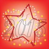 Αφηρημένο κείμενο του 2015 με το κόκκινο αστέρι στο κόκκινο υπόβαθρο Στοκ εικόνες με δικαίωμα ελεύθερης χρήσης