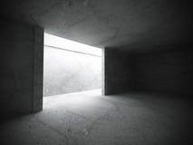 Αφηρημένο κενό σκοτεινό εσωτερικό δωματίων με τους συμπαγείς τοίχους αρχιπελαγών ελεύθερη απεικόνιση δικαιώματος