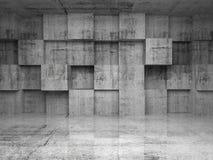 Αφηρημένο κενό συγκεκριμένο εσωτερικό με τους κύβους Στοκ Εικόνες