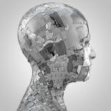 Αφηρημένο κεφάλι humanoid sideview στο γκρι ελεύθερη απεικόνιση δικαιώματος