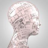 Αφηρημένο κεφάλι humanoid sideview στο μπεζ απεικόνιση αποθεμάτων