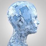 Αφηρημένο κεφάλι humanoid sideview στο μπλε απεικόνιση αποθεμάτων