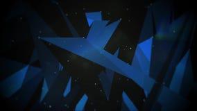 Αφηρημένο κινούμενο πλέγμα με τα σημεία και τα πολύγωνα που κινούνται σε ένα τρισδιάστατο διάστημα διανυσματική απεικόνιση