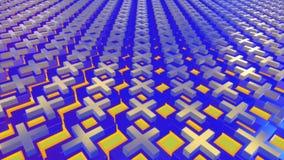 Αφηρημένο κινούμενο υπόβαθρο στα μπλε και κίτρινα χρώματα ελεύθερη απεικόνιση δικαιώματος