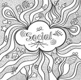 Αφηρημένο κοινωνικό σύννεφο στο μαύρο λευκό ύφους doodle για τα εμβλήματα ιστοχώρου και άλλα πράγματα ή για το χρωματισμό της σελ Στοκ Φωτογραφία