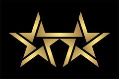 Αφηρημένο κομψό και σύγχρονο εικονίδιο λογότυπων αστεριών ύφους δίδυμο χρυσό στο Μαύρο, eps 10 αρχείο Στοκ Εικόνες