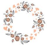 Αφηρημένο κομψό floral πλαίσιο γραμμών ως στοιχείο για το γάμο, τα γενέθλια, την ημέρα βαλεντίνων και άλλο ρομαντικό σχέδιο στεφά ελεύθερη απεικόνιση δικαιώματος