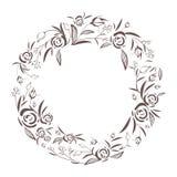 Αφηρημένο κομψό floral πλαίσιο γραμμών ως στοιχείο για το γάμο, τα γενέθλια, την ημέρα βαλεντίνων και άλλο ρομαντικό σχέδιο στεφά διανυσματική απεικόνιση