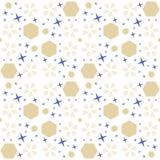 Αφηρημένο κοσμικό άνευ ραφής σχέδιο με τα μπλε και χρυσά στοιχεία διανυσματική απεικόνιση