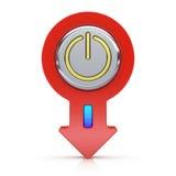 Αφηρημένο κουμπί δύναμης με το βέλος Στοκ Εικόνες