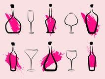 αφηρημένο κρασί μπουκαλιώ& ελεύθερη απεικόνιση δικαιώματος