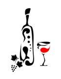 αφηρημένο κρασί μπουκαλιώ& διανυσματική απεικόνιση