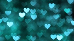 Αφηρημένο κυανό χρώμα υποβάθρου καρδιών bokeh φιλμ μικρού μήκους