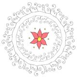 Αφηρημένο κυκλικό σχέδιο με το λουλούδι Στοκ Φωτογραφίες