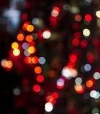 Αφηρημένο κυκλικό υπόβαθρο bokeh του φωτός πόλεων στη μορφή καρδιών Στοκ Εικόνα