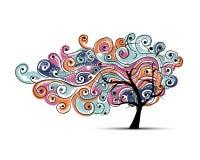 Αφηρημένο κυματιστό δέντρο για το σχέδιό σας Στοκ Φωτογραφία