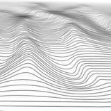 Αφηρημένο κυματιστό υπόβαθρο Wireframe λωρίδων Ψηφιακά βουνά κυβερνοχώρου με τις κοιλάδες τρισδιάστατο τοπίο απεικόνισης τεχνολογ ελεύθερη απεικόνιση δικαιώματος