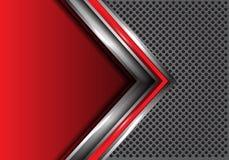 Αφηρημένο κόκκινο ασημένιο βέλος με το κενό διάστημα στο γκρίζο κύκλων πλέγματος διάνυσμα υποβάθρου σχεδίου σύγχρονο φουτουριστικ διανυσματική απεικόνιση