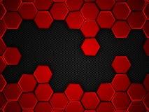 Αφηρημένο κόκκινο και μαύρο υπόβαθρο με hexagons, διανυσματική απεικόνιση Στοκ Εικόνες