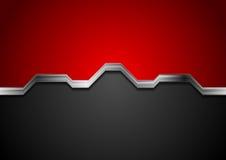 Αφηρημένο κόκκινο και μαύρο υπόβαθρο υψηλής τεχνολογίας με το ασημένιο λωρίδα μετάλλων ελεύθερη απεικόνιση δικαιώματος