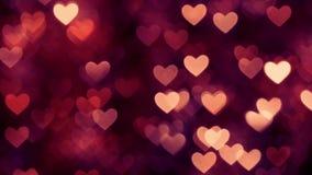 Αφηρημένο κόκκινο καφετί χρώμα υποβάθρου καρδιών bokeh απόθεμα βίντεο