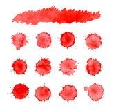 Αφηρημένο κόκκινο υπόβαθρο μελανιού splatter Σύνολο αίματος σταλάγματος ελεύθερη απεικόνιση δικαιώματος