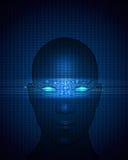 Αφηρημένο κύκλωμα στο ανθρώπινο πρόσωπο Το διανυσματικό αρχείο ελεύθερη απεικόνιση δικαιώματος