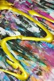 Αφηρημένο λαμπιρίζοντας ζωηρόχρωμο υπόβαθρο ζωγραφικής, κτυπήματα βουρτσών, οργανικό υπνωτικό υπόβαθρο Στοκ φωτογραφίες με δικαίωμα ελεύθερης χρήσης