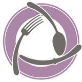 Αφηρημένο λογότυπο ενός καφέ ή ενός εστιατορίου Ένα κουτάλι, ένα δίκρανο και ένα μαχαίρι βρίσκονται σε ένα πιάτο Μια απλή περίληψ Στοκ Εικόνες
