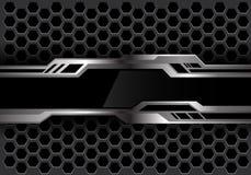 Αφηρημένο μαύρο ασημένιο futiristic έμβλημα στο σκούρο γκρι hexagon πλέγματος διάνυσμα τεχνολογίας υποβάθρου σχεδίου σύγχρονο απεικόνιση αποθεμάτων