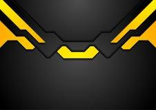 Αφηρημένο μαύρο κίτρινο εταιρικό υπόβαθρο υψηλής τεχνολογίας απεικόνιση αποθεμάτων