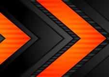 Αφηρημένο μαύρο πορτοκαλί υπόβαθρο τεχνολογίας βελών διανυσματική απεικόνιση