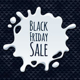 Αφηρημένο μαύρο σχέδιο αυτοκόλλητων ετικεττών παφλασμών πώλησης Παρασκευής Στοκ Εικόνες