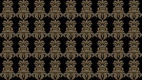 Αφηρημένο μαύρο υπόβαθρο με τα παλαιά χρυσά λαϊκά σχέδια, ράστερ im Στοκ Φωτογραφία