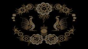 Αφηρημένο μαύρο υπόβαθρο με τα χρυσά και ασημένια λαϊκά σχέδια, RA Στοκ εικόνες με δικαίωμα ελεύθερης χρήσης
