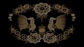 Αφηρημένο μαύρο υπόβαθρο με τα χρυσά και ασημένια λαϊκά σχέδια, RA Στοκ φωτογραφία με δικαίωμα ελεύθερης χρήσης