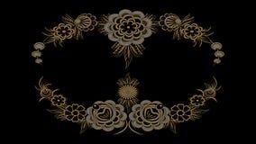 Αφηρημένο μαύρο υπόβαθρο με τα χρυσά και ασημένια λαϊκά σχέδια, RA Στοκ εικόνα με δικαίωμα ελεύθερης χρήσης