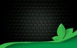 Αφηρημένο μαύρο φουτουριστικό hexagon σχέδιο επιφάνειας με το υπόβαθρο έννοιας οικολογίας Πράσινων Γραμμών Στοκ φωτογραφία με δικαίωμα ελεύθερης χρήσης