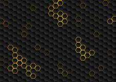 Αφηρημένο μαύρο hexagons γεωμετρικό υπόβαθρο τεχνολογίας ελεύθερη απεικόνιση δικαιώματος
