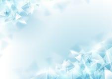 Αφηρημένο μαλακό μπλε πολύγωνο και μοριακό υπόβαθρο διανυσματική απεικόνιση