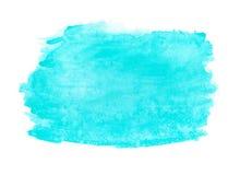 Αφηρημένο μελανιού σύστασης βουρτσών χρώμα χεριών παφλασμών watercolor aquarel υποβάθρου τυρκουάζ πράσινο στο άσπρο υπόβαθρο Στοκ φωτογραφία με δικαίωμα ελεύθερης χρήσης