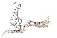 Αφηρημένο μουσικό σχέδιο με ένα τριπλό clef και μουσικά κύματα ελεύθερη απεικόνιση δικαιώματος