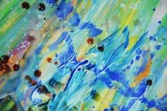 Αφηρημένο μπλε κόκκινο κέρινο ζωηρό υπόβαθρο στα ζωηρά χρώματα Στοκ Εικόνες
