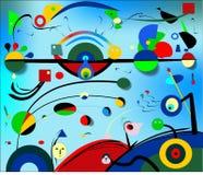 Αφηρημένο μπλε ελαφρύ υπόβαθρο, ζωγράφος Miro ` ύφους Στοκ εικόνα με δικαίωμα ελεύθερης χρήσης