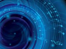 Αφηρημένο μπλε διανυσματικό υπόβαθρο με τις μουσικές νότες απεικόνιση αποθεμάτων