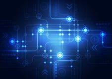 Αφηρημένο μπλε υπόβαθρο έννοιας τεχνολογίας επίσης corel σύρετε το διάνυσμα απεικόνισης Στοκ Εικόνες