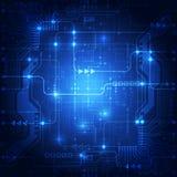 Αφηρημένο μπλε υπόβαθρο έννοιας τεχνολογίας επίσης corel σύρετε το διάνυσμα απεικόνισης Στοκ Εικόνα