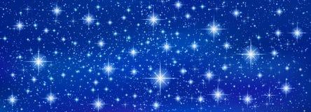 Αφηρημένο μπλε υπόβαθρο εμβλημάτων με τα λαμπιρίζοντας αστράφτοντας αστέρια διανυσματική απεικόνιση