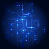 Αφηρημένο μπλε υπόβαθρο κυκλωμάτων τεχνολογίας επίσης corel σύρετε το διάνυσμα απεικόνισης Στοκ Εικόνες